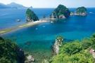 堂ヶ島トンボロ 三四郎島とトンボロ